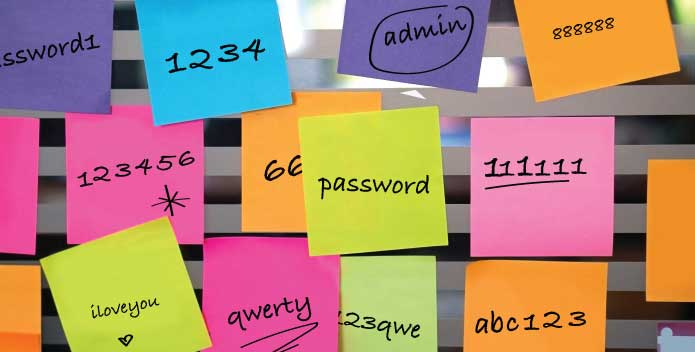 Easy to guess passwords written on PostIt notes - poor password management