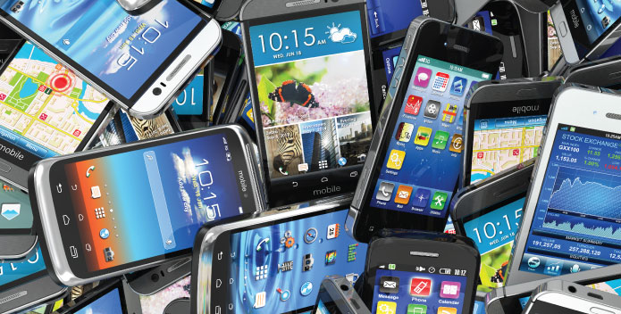 Recycling Tech - pile of mobile phones